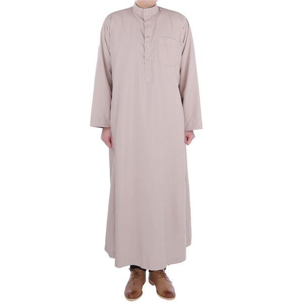 best selling 2018 Arab Men Thobe Latest Terylene Fabric Long Sleeve Qatar Style Autumn Wear Stand Collar Middle East Men's Clothing