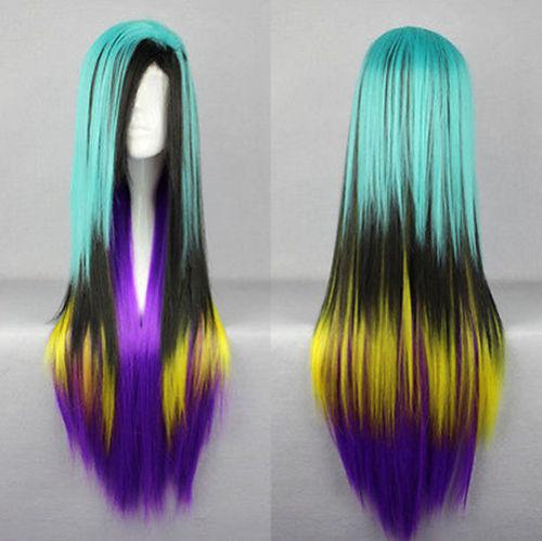 Wholesale free shipping >>Hot Sell New Straight Lolita Hair Long Blue Black Yellow Purple Mixing Wig