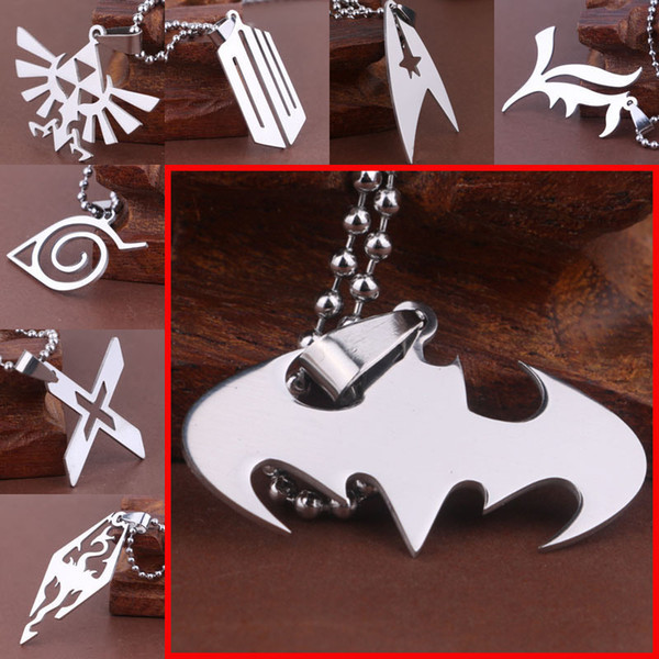 top popular Stainless Steel Necklace Star Trek Zelda Batman Spiderman Wonder Woman Superman Skyrim Naruto The Flash Resident Necklace Drop Shipping 2019