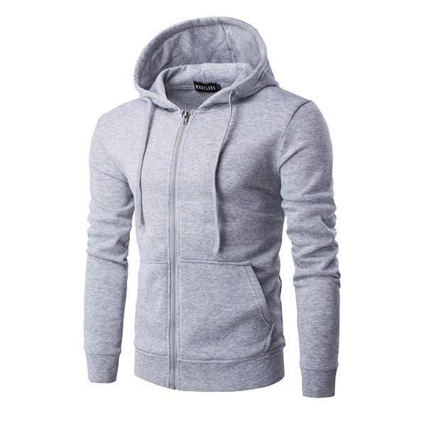 Großhandels-Männer neue heiße mit Kapuze reine Farbe große Reißverschlusstaschen Fleece Hoodies Mode Freizeit Mantel Kleidung Overalls Schwarz rot blau grau