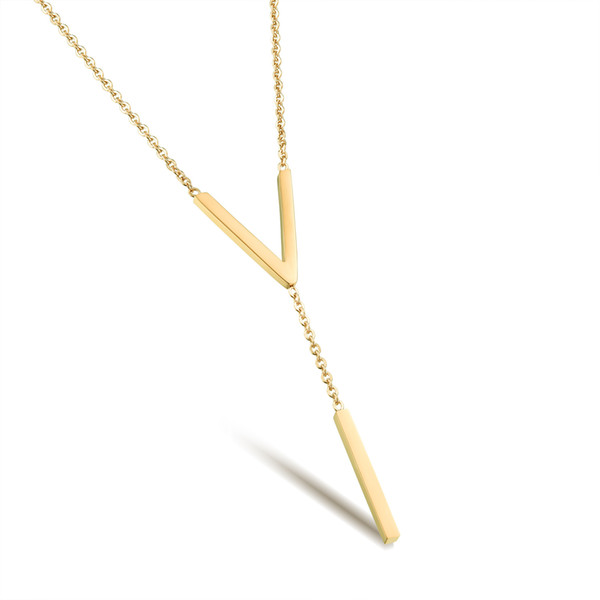 V type pendant Pendant Necklace clavicle titanium Rose Gold Plated Pendant Necklace Korean jewelry GX1034 Ms.