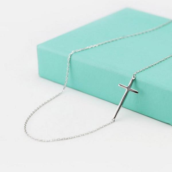 Atacado-Nova Chegada 925 Sterling Silver Cruz Colares Pingente de Venda Quente de Prata Pura Jóias para As Mulheres Frete Grátis