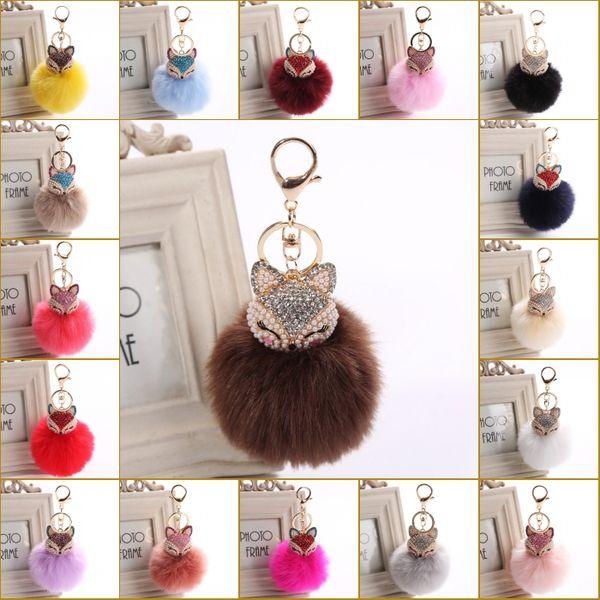 Free Shipping New Fashion Cute Real Fox Fur Ball Plush Keychain Car Key Chain for Bag Pendant C150Q