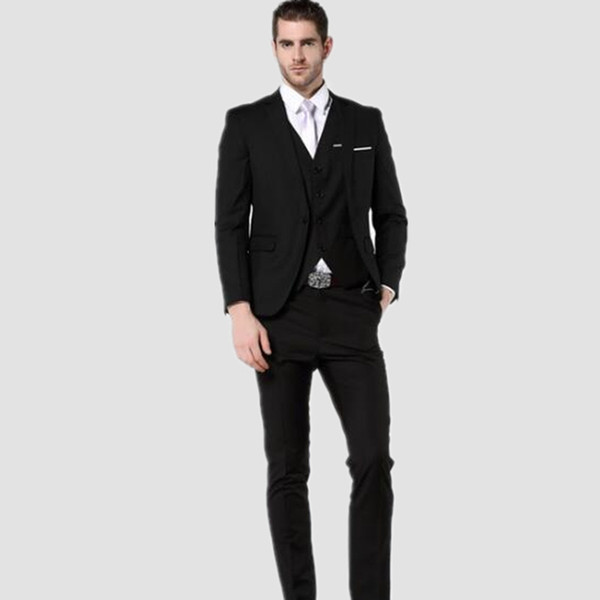 Custom made Men Suit handsome Black Suit Fashion Men's wedding Suits Slim Fit groom Suits For Men (Jacket +Vest+Pants)