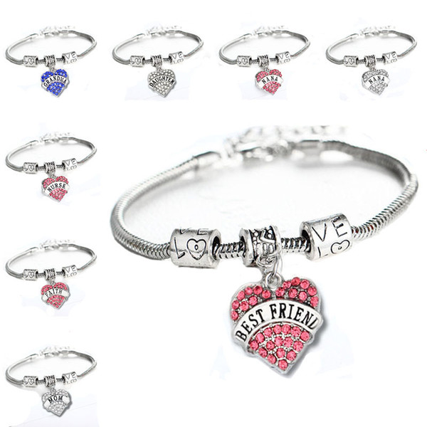 top popular 45 types Diamond Love Heart Bracelet Mom Aunt Daughter Grandma Believe Hope best friends Crystal Bracelet Will and Sandy Drop Ship 161224 2019