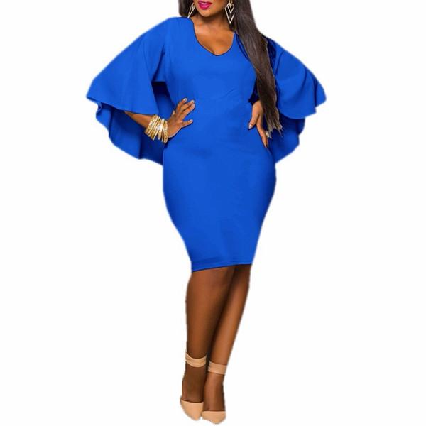 Fashion Women Summer Dress Ladies Batwing Sleeve V Neck Cape Bodycon Bandage Cloak Midi Party Vestidos Plus Sizes 3XL