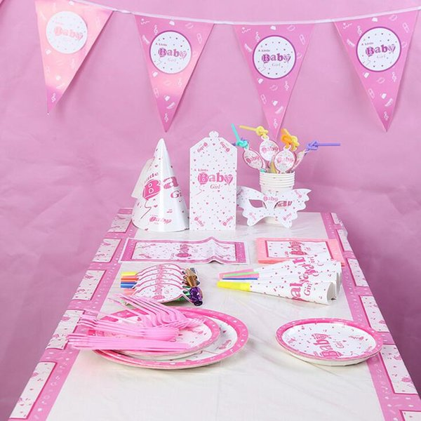 2017 New Pink Baby Girl Theme Disposable Tableware Set Party Decoration For Children Girls Princess Event Birthday Party Supplies