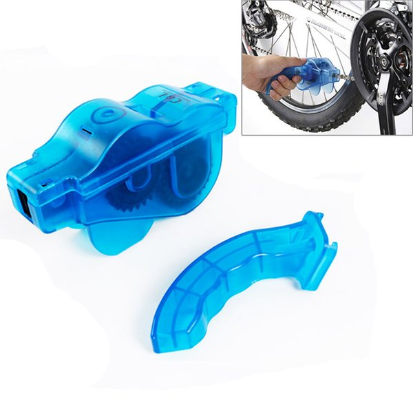 Blue Portable Bicycle Chain Cleaner,Bike Clean Machine Brushes Scrubber Wash Tool, Mountain Cycling Cleaning Kit Outdoor Sports