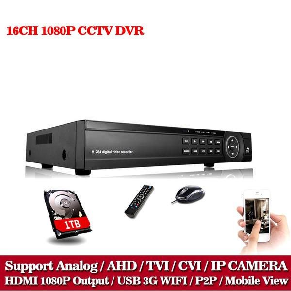 LLNIVISION 16CH AHD DVR AHD TVI CVI HD 1080P Video Recorder H.264 CCTV Camera Onvif Network 16 Channel IP NVR Multi-language 1TB