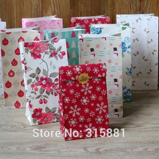 Merry Christmas kraft paper bag, Gift Bags