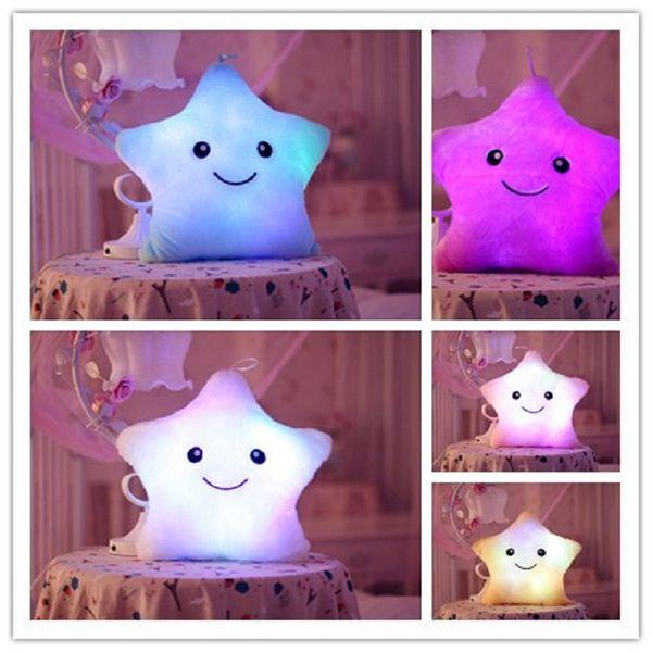 Wholesale- Creative Music Luminous Pillow Colorful Noctilucent Light Star Plush Toys Cushion Kawaii Cushion Lovers Romantic Music Pillow