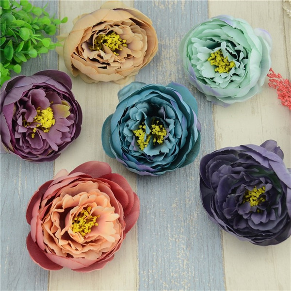10pcs/lot 10cm Large Silk Peony Artificial Flower Head For Wedding Decoration DIY Garland Retro Real Touch Brooch Fake Flowers