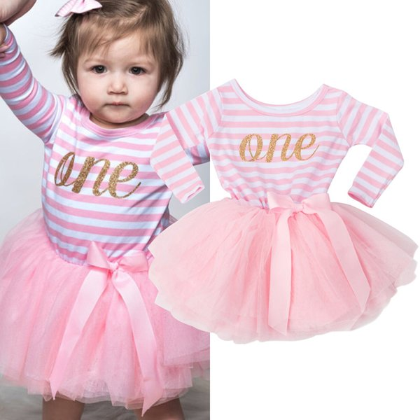 Wholesale- Summer Cute Newborn Dresses For Infant Ribbon Bow Pattern Long Sleeve Striped Dress Clothes 0 to 2 Years Christening Birthday