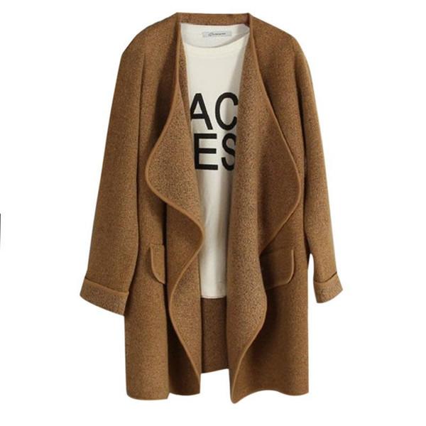 Commercio all'ingrosso- Nuove donne di inverno maglione cardigan lavorato a maglia in cashmere lungo solido sottile asimmetria manica lunga sciolto caldo cardigan in maglia feminino