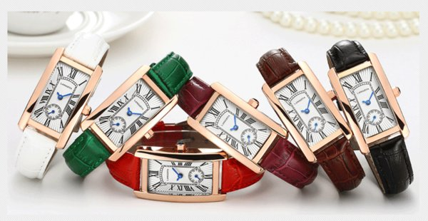 Han edition watch female tetragonal dial waves, leading to product import waterproof quartz watch really belt retro seconds plate of wrist w