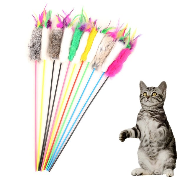 Pet Supplies Toy Funny Cat Pole Plaything Wood Toys Plush Band Mouse Feather Catcher Teaser Coarse Rabbit Wholesale Multicolor 1 68yr H R