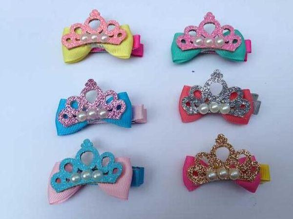 Cute Glitter Rhinestone Crystal Crown Hairpin Hair Clip Pearl