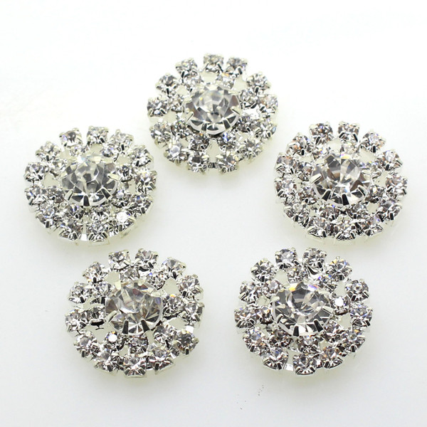 100pcs 19mm Round Metal Crystal Rhinestone Button Wedding Decor Embellishments Crafting DIY Hair Accessory Factory Direct
