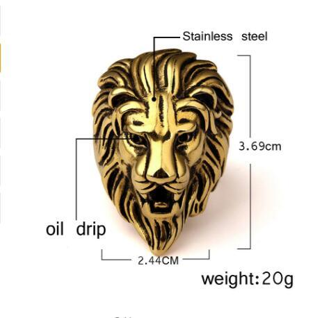 2018 Men Stainless steel Ring Hip hop Punk Style Vintage Golden Color Black Oil Lion Head Rings Jewelry Size 7-15