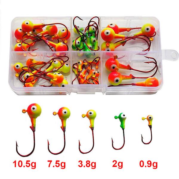 46pcs Multicolor 3D Fish Eyes Jig Head Fishing Hooks Red Lead Head Lures Fishing Hooks Set With Box