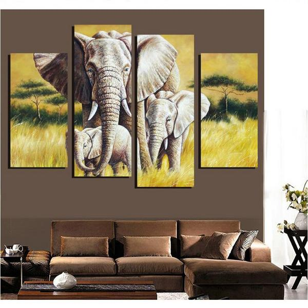 4 Pieces Africa Elephant Scenery Painting Modern HD Print Animal Painting on Canvas Wall Art Decration Home Living Room