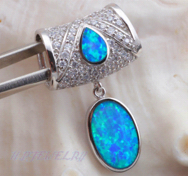 Wholesale & Retail Party Crystal Blue Fire Opal Silver sterling 925 Necklace Pendants for women Fashion jewelry OP252