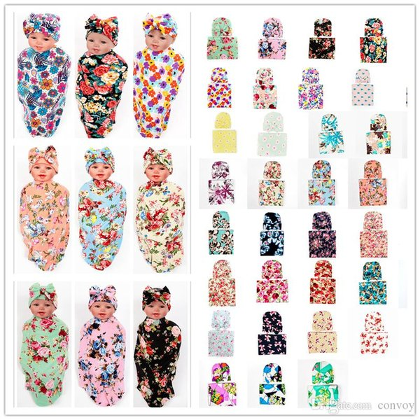 Free DHL Newborn Baby Swaddle Blanket with Bow Hat Cap Girls Infant flower print Swaddling Robes Soft Cotton Wrap Cloth 38 Colors BHBZ03
