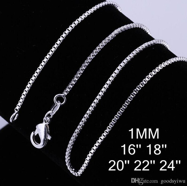 Fashion 925 Sterling Silver Plated Beautiful Necklaces 1mm box chain Necklace Jewelry Size 16/18/20/22/24 inch C007
