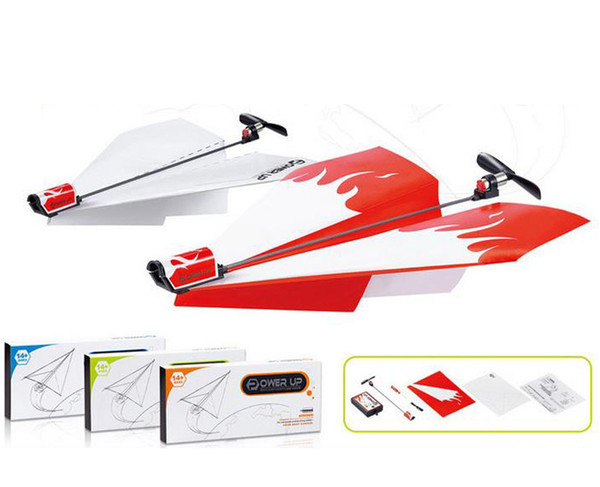 Wholesale Charging Motor Electric Glazed Paper Aircraft Model Engine Folding DIY Paper Power Toys free shipping