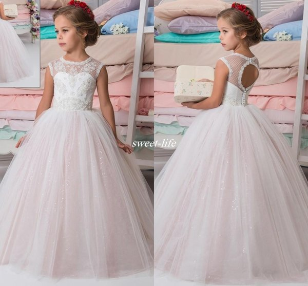 Sparkly Lace Beaded Arabic 2017 Wedding Flower Girl Dresses Crew A ...