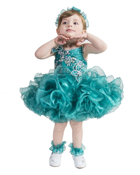 Green Glitz Girls Pageant Cupcake Dresses Infant Tutu Gowns Toddler Baby Girls Starps Rufless Mini Pageant Dress