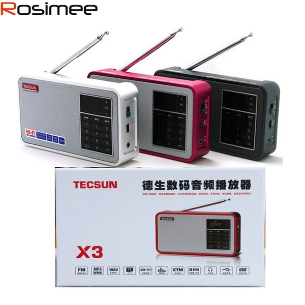 Wholesale-World Brand Tecsun X3 FM Radio Digital Audio Speaker Easy Tuning Mode Radio Receiver With LCD Display MP3 Player TF Card Support