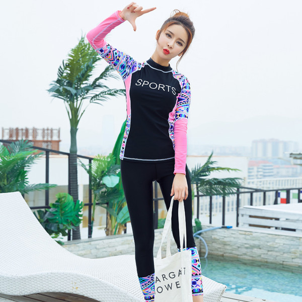 Womens Wetsuits Long Sleeve Patchwork Sexy Diving Suit Women Slim Lady Two  Pieces Swimsuits Girls Bodysuit 2c38cea32