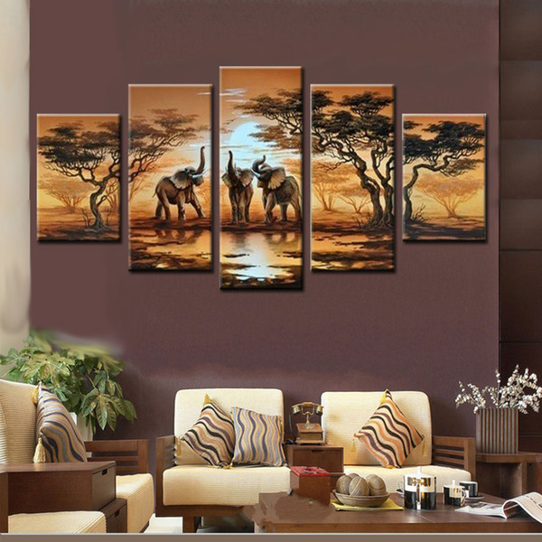 100% Hand made promotion tree elephant CANVA PAINTING Abstract african animal landscape HOME DECOR Oil Painting on canvas 5pcs
