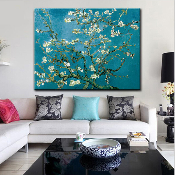 free shipping impression Van Gogh blooming apricot flower canvas printings oil painting on canvas wall art decoration picture