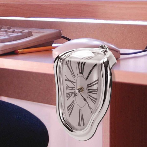 top popular Wholesale-Free Shipping 1Piece The Persistence of Memory Melting Clock Room Decortion Desk Clock Eye-catching Dali-esque Clock 2020