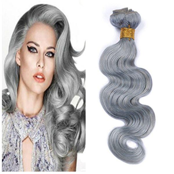 Hot Sale Silver Grey Brazilian Hair 3Pcs/Lot Grey/Gray Hair Extensions Brazilian Body Wave Human Hair Bundles 8-30 inch Wholesale Price