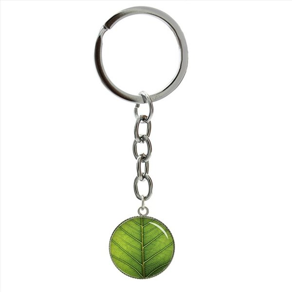 Romantic Spring style fresh green Four Leaf Clover keychain charming nature plant shamrock key chains lucky symbol jewelry 1197