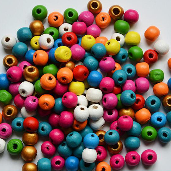 top popular Two Hole Loose Beads Cheap Wholesale 500pcs Lot 8mm Round Wood Beads Wooden Ball For DIY Brooch Jewelry Making Material Findings 2021