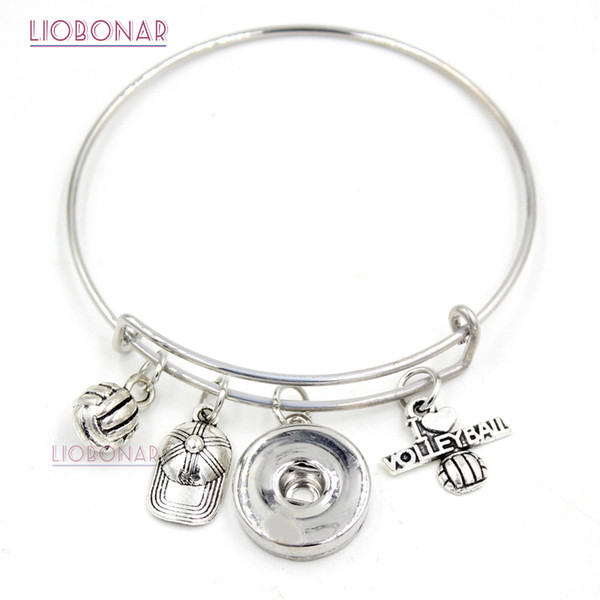 Wholesale Adjustable Bangle Interchangeable Snap Jewelry Sport I love Volleyball Snap button Bracelet for Sport Volleyball Fans gift