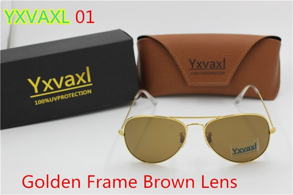 2017 new High quality men and women sunglasses Brand sunglasses Gold frame brown glass lens 58mm and 62mmUV400 black box for free shipping