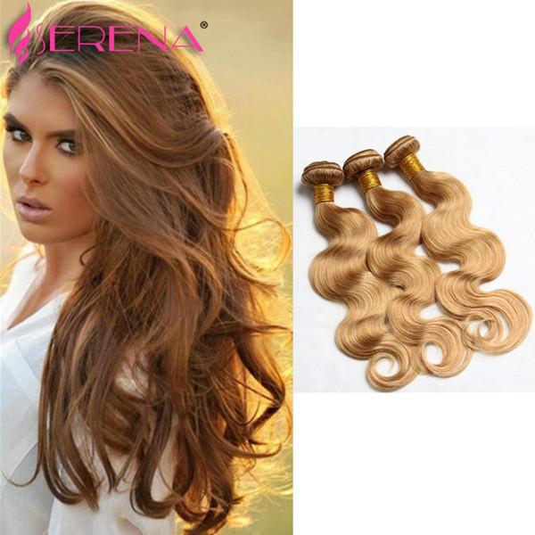 Honey Blonde Extensions Peruvian Malaysian Indian Russian Hair Wave Body Wave 3 Bundles Lot Color 27 # Extensiones brasileñas de cabello