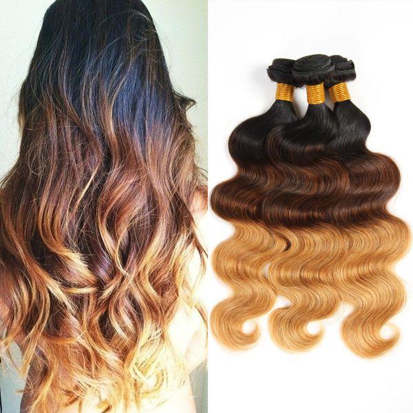 Halo Lady Ombre Color Hair Bundles Two Tone 1b427 3pcslot 10inch