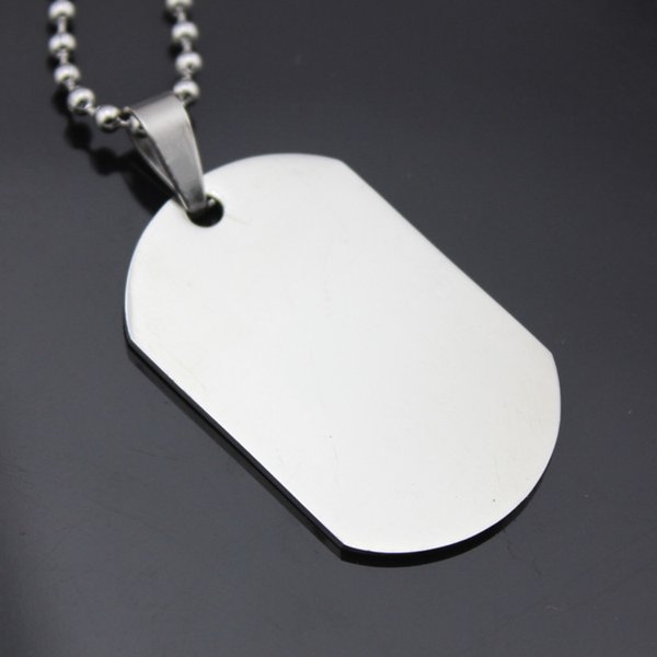 étiquettes en acier inoxydable poli double face collier de carte de licence militaire pour les hommes