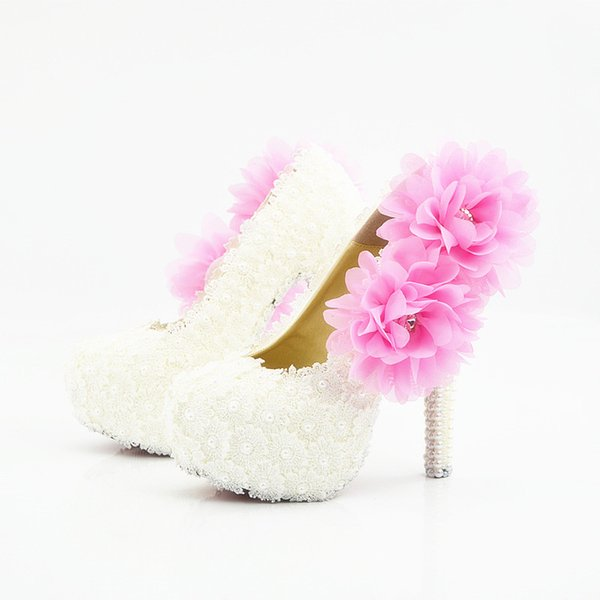 Plus Size Lace Pearls Pink Flower Sexy Prom Evening Shoes Cinderella Shoes Hand-made Bridal/Bridesmaid Shoes Nigh Club Party High Heels 218