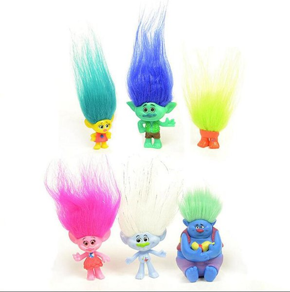 Trolls PVC Action Figures 3-7cm Poppy Branch Biggie Collection PVC Dolls Cake Topper Kids Toys Gifts 500Sets OOA2715