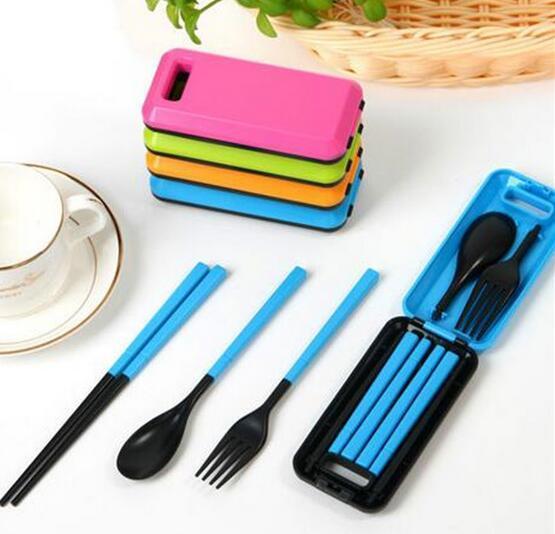 Portable Folding Travel Dinnerware Set Korean Tableware Cutlery Fork Chopsticks Set For Kids Bento Lunch Box Accessories