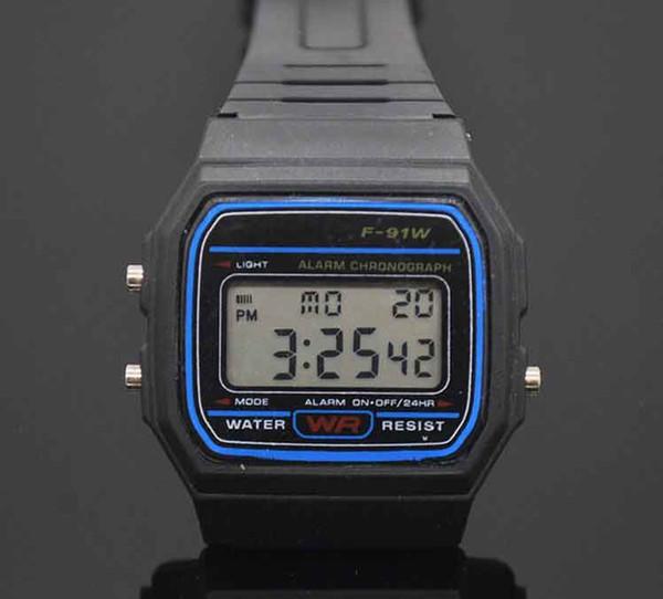 Led Dijital Siyah plastik saatler erkek Spor İzle aydınlık F91W elektronik Saatler Ultra ince LED elektronik izle
