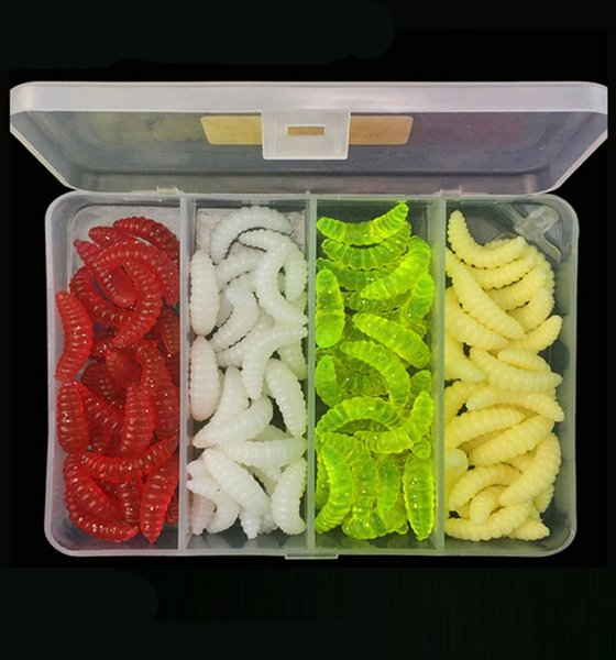 200Pcs / 2Box Artificial Fishing Grub Worms Soft Bait Lures 2.4cm 0.5g Ma Kou Fishing Lure Bait Set With Plastic Tackle Boxes