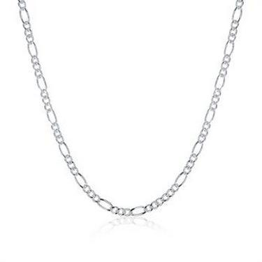 Wholsale Vintage Vintage Italian Silver Plated Chain 2mm Figaro Link Chain Chunky Link Necklace Chain for Men,16inch-24inch